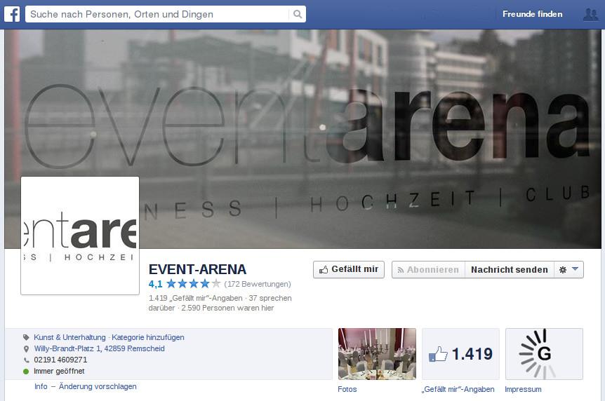 Event Arena auf Facebook