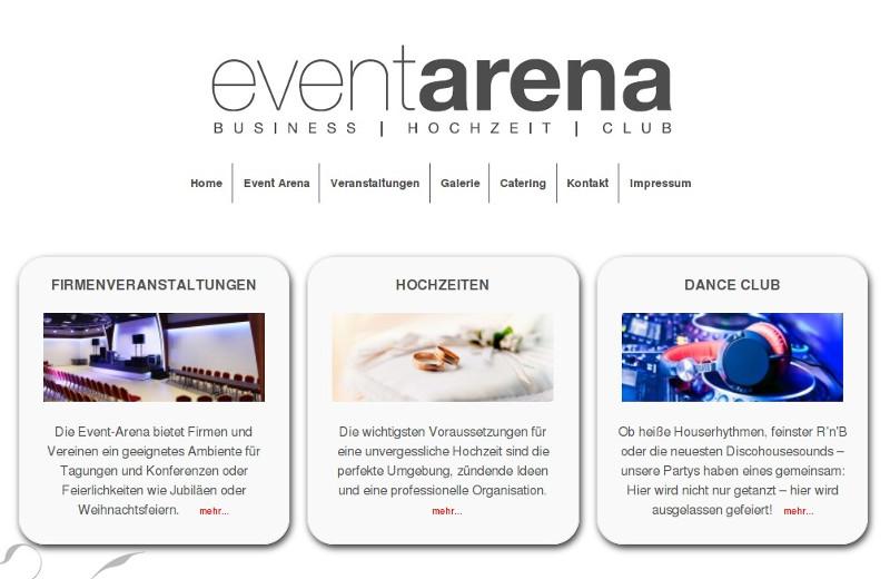 Neue Webseite der Event Arena